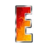 Flamme-Alphabet-Zeichen E Stockfoto