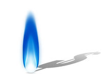 Flamme bleue de gaz naturel moulant une ombre de symbole dollar Photographie stock libre de droits