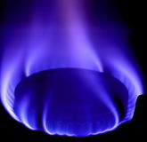 Flamme bleue du gaz Photo stock
