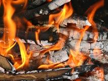 Flamme brûlante du feu de camp Image libre de droits