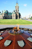 Flamme centennale en côte du Parlement, Ottawa Images stock