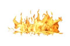 Flamme d'incendie sur le blanc Photographie stock
