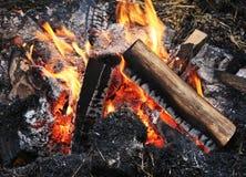 Flamme d'un feu, allumée en plein air Photo libre de droits