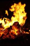 Flamme dans le four russe Photographie stock libre de droits