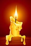 Flamme de bougie brûlante avec de la cire d'égoutture Photo libre de droits