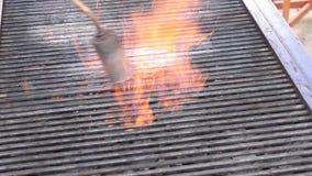 Flamme de brûleur sur le gril banque de vidéos