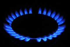 Flamme de gaz naturel de poêle Photo stock