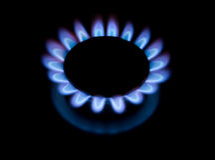 Flamme de plaque de cuisine de gaz Photo libre de droits