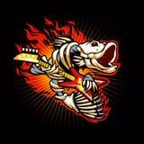 Flamme de squelette de poissons Image stock