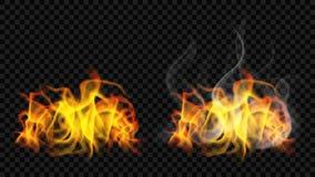 Flamme du feu avec de la fumée et sans illustration libre de droits