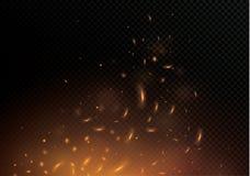 Flamme du feu avec des étincelles sur un fond noir La texture de la tempête ardente Les étincelles ardentes du ` s de Boke allume Images stock