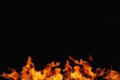 Flamme du feu sur le fond noir Photo libre de droits