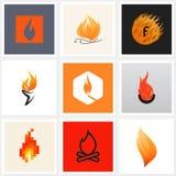 Flamme. Ensemble d'affiches, éléments de conception Images libres de droits