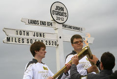 Flamme et torches olympiques 2012, John o'Groats Images stock