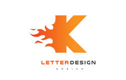 Flamme Logo Design de lettre de K Le feu Logo Lettering Concept Image stock