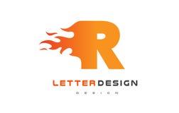 Flamme Logo Design de lettre de R Le feu Logo Lettering Concept Image libre de droits