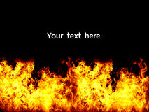 Flamme sur le fond noir images stock