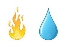 Flamme- und Wassertropfen auf weißem Hintergrund Stockfotos