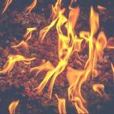 Flammen in der Feuer-Grube nachts stockbild