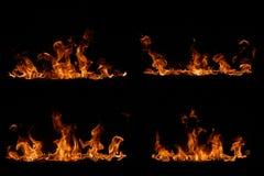 Flammen der Orange auf Schwarzem Stockfotografie