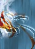 Flammen der Orange, der Punkte und des blauen digitalen Stockfoto