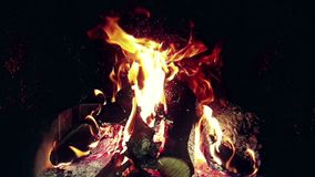 Flammen des wirklichen Feuers brennen Bewegung mit Niederlassungen des Holzes, Kamin in der Zeitlupe stock video