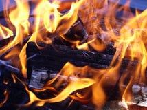 Flammen, die um Holz sich entwirren Lizenzfreie Stockbilder