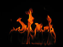 Flammen, die von einem LOGON-Feuer kommen Stockbild