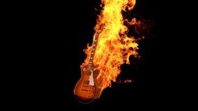 Flammen-E-Gitarre stock video footage