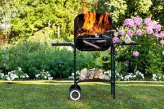 Flammen in einem Grill Stockfoto