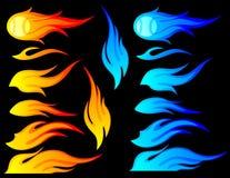 Flammen eingestellt Stockfotos