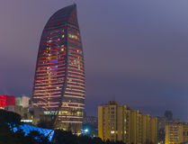 Flammen-Türme in Baku Stockbilder
