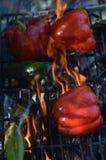 Flammenrauchpfeffer auf hibachi Grill draußen Stockfotos