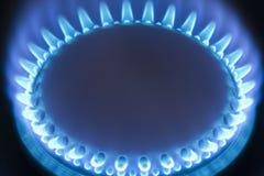 Flammes bleues d'un poêle de gaz photo stock