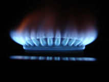 Flammes bleues du gaz Photo libre de droits