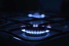 Flammes bleues du gaz Image stock