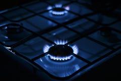 Flammes bleues du gaz Photographie stock libre de droits