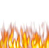 Flammes chaudes au-dessus de blanc Photographie stock libre de droits