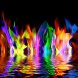 Flammes colorées photo stock