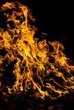 Flammes d'incendie sur le noir photos stock
