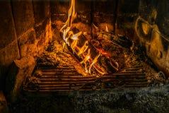Flammes dans une cheminée en Norvège Images stock