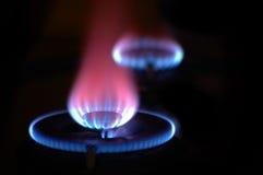 Flammes de 2 poêles Images stock