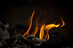 Flammes de barbecue du feu pour faire cuire la viande Photographie stock libre de droits