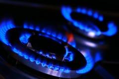 Flammes de poêle de gaz Image libre de droits
