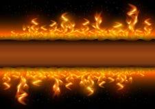 Flammes du feu avec la bannière sur le fond noir Photographie stock libre de droits