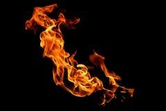 Flammes du feu d'isolement sur le noir photo stock