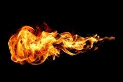 Flammes du feu d'isolement sur le noir Photo libre de droits