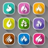 Flammes du feu, neuf icônes Photo libre de droits