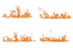 Flammes du feu sur le fond blanc images stock
