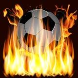 Flammes et ballon de football Photographie stock libre de droits